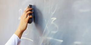 Teacher erasing chalkboard