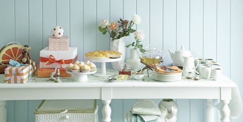 Table, Brunch, Room, Furniture, Interior design, Tableware, Meal, Peach, Party, Food,