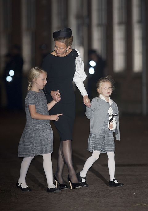 delft, netherlands   november 02 norway outprincess mabel of the netherlands and daughters countess luana and countess zaria leave a memorial service for prince friso of the netherlands who passed away in august 12, 2013 following a skiing accident in february 2012, on november 2, 2013 in delft, netherlands photo by julian parkeruk press via getty images