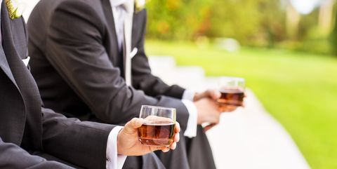 Suit, Formal wear, Tuxedo, Drinking, Businessperson, Wedding, Ceremony, Drink, Bride,
