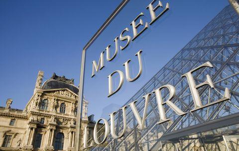 France, Paris, Louvre, entrance signage