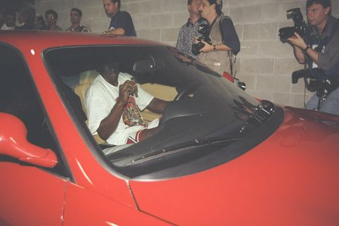 13 jun 1997 michael jordan of the chicago bulls leaves the stadium in his ferrari after the bulls win game 6 of the 1997 nba finals at the united center in chicago, illinois the bulls defeated the jazz 90 86 to win the series and claim the championship