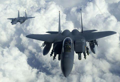 Aircraft, Airplane, Mcdonnell douglas f-15e strike eagle, Air force, Jet aircraft, Vehicle, Military aircraft, Fighter aircraft, Aviation, Mcdonnell douglas f-15 eagle,
