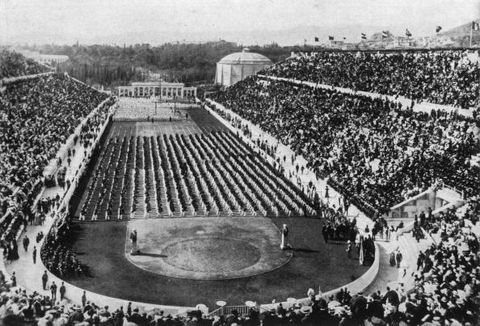 1896  view of athletes, standing in rows, and crowds filling the stadium at the 1896 olympic games in athens, greece  photo by hulton archivegetty images