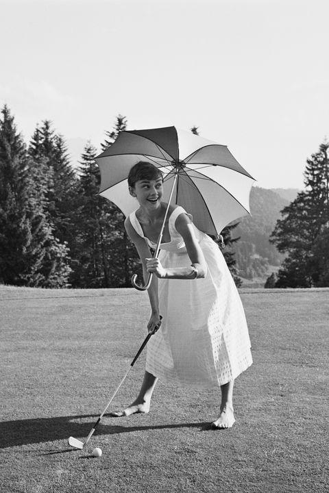 photograph, white, golf, standing, umbrella, golfer, product, black and white, snapshot, golf club,