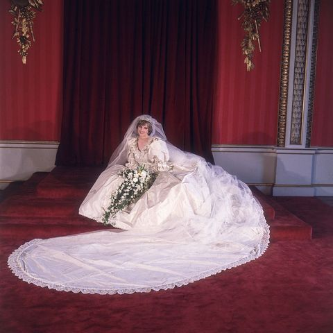 29th july 1981  formal portrait of lady diana spencer 1961   1997 in her wedding dress designed by david and elizabeth emanuel  photo by fox photosgetty images