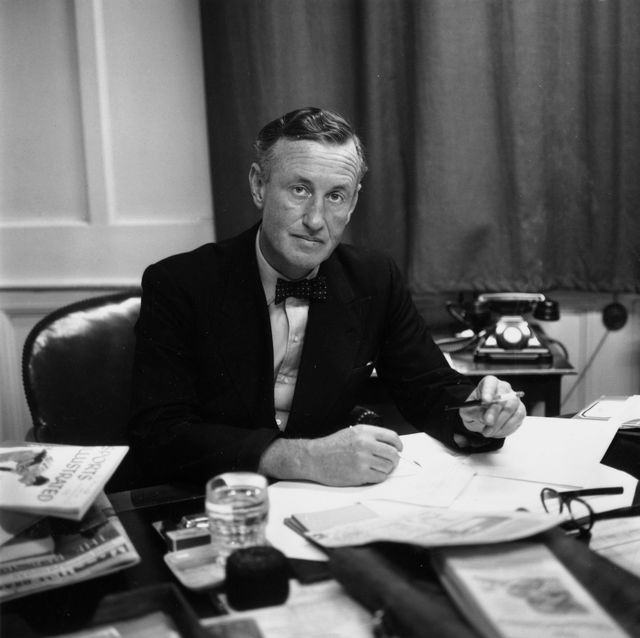 24th march 1958  ian fleming, british author and creator of james bond, at his desk in his study  photo by expressexpressgetty images