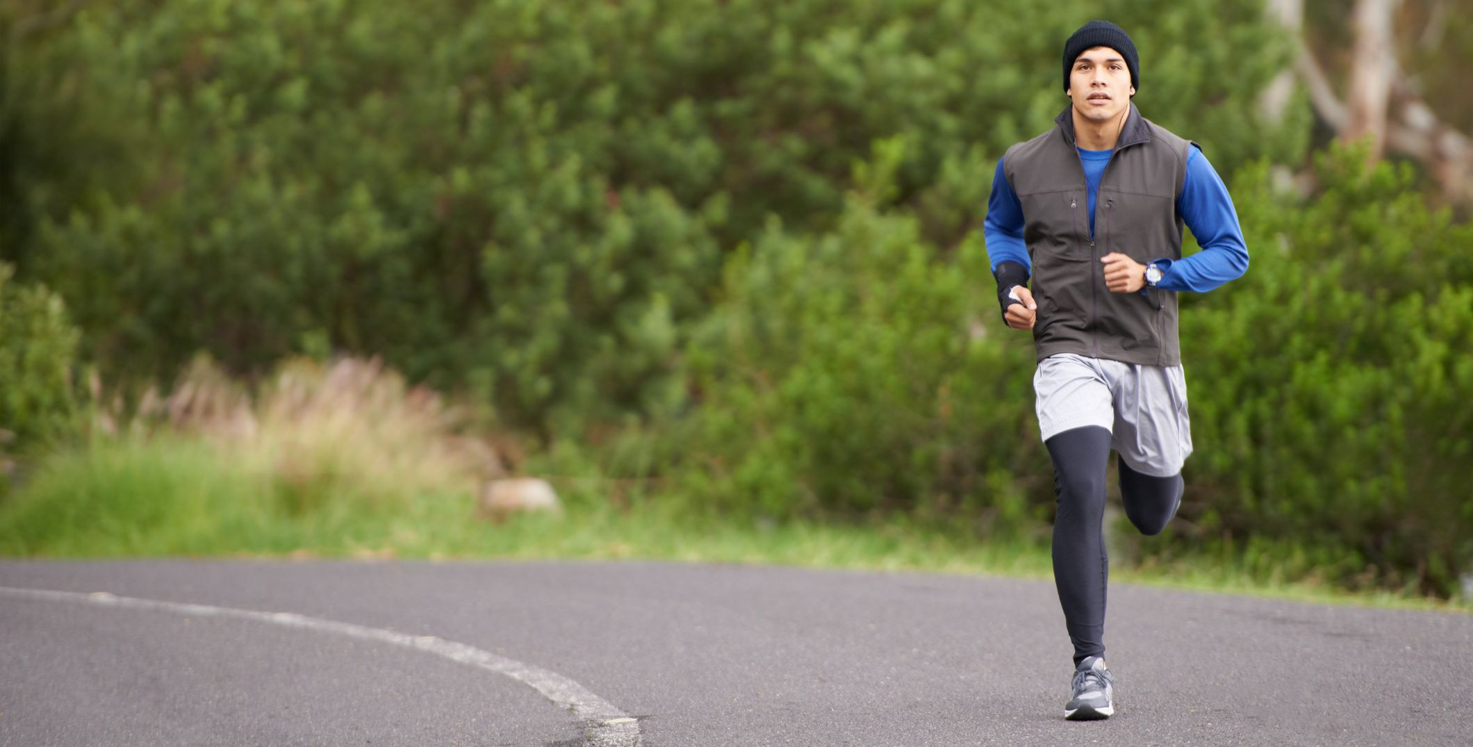 focused man running