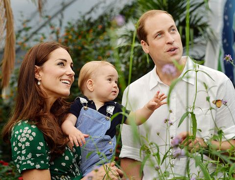 london, england   july 02   editorial use only catherine, duchess of cambridge holds prince george as he and prince william, duke of cambridges look on while visiting the sensational butterflies exhibition at the natural history museum on july 2, 2014 in london, england the family released the photo ahead of the first birthday of prince george on july 22  photo by john stillwell   wpa poolgetty images