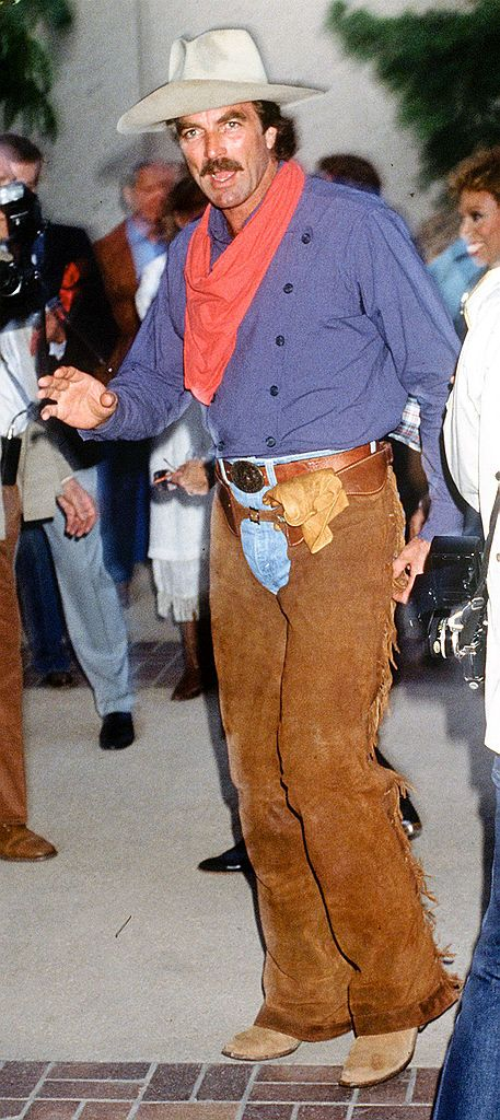 american actor tom selleck in a cowboy outfit, circa 1990  photo by kyprosgetty images