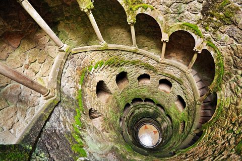 the inverted tower initiation well, staircase in quinta da regaleira, sintra, portugal