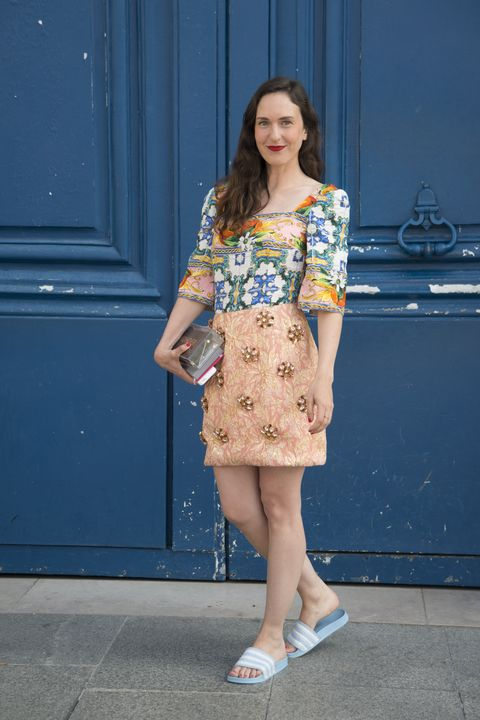 Clothing, Street fashion, Fashion, Blue, Yellow, Footwear, Snapshot, Brown, Shoe, Dress,