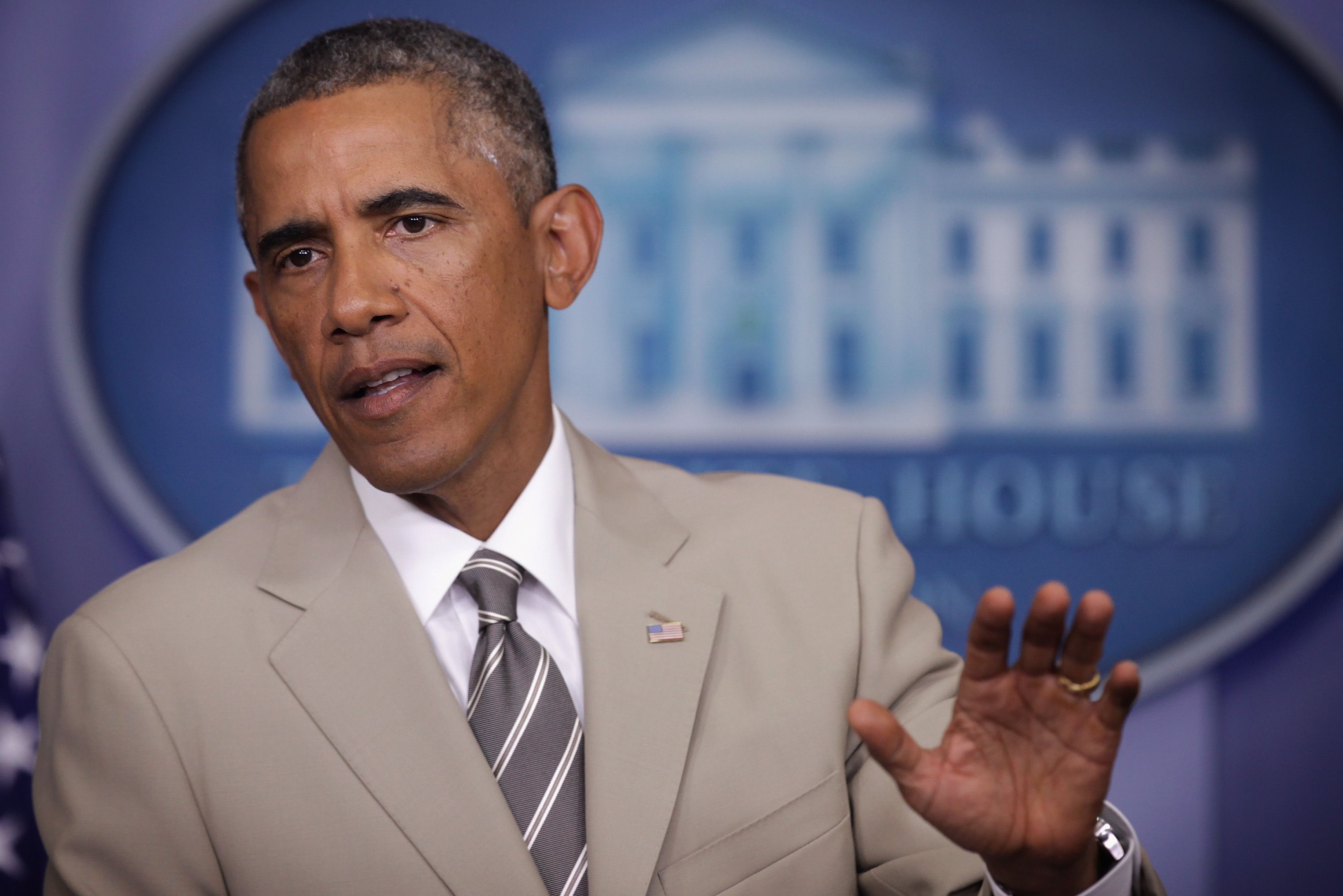President Obama at the White House (in that suit) on August 28, 2014.