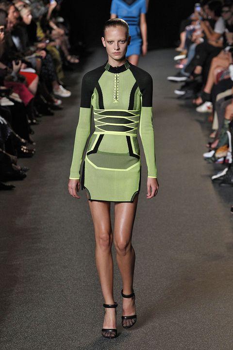 Fashion model, Fashion, Fashion show, Runway, Clothing, Shoulder, Fashion design, Waist, Joint, Footwear,