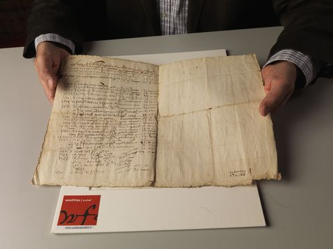 hoorn, netherlands   september 10 dirk dekema, director of the westfries archief west frisian archives presents the page with the paid dividends of the worlds first and oldest known share certificate issued in enkhuizen on september 9, 1606 by the former dutch east india company verenigde oostindische compagnie or voc on september 10, 2014 in hoorn, the netherlands  the dutch east india company and its introduction of share certificates formed the base for modern capitalism photo by michel porrogetty images