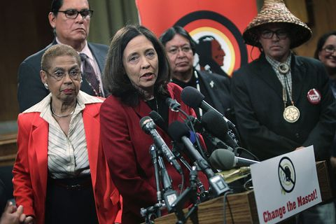 washington, dc   september 16  us sen maria cantwell d wa 3rd l speaks as del eleanor holmes norton d dc l, and national congress of american indians ncai president brian cladoosby 5th l listen during a news conference september 16, 2014 on capitol hill in washington, dc the group change the mascot held a news conference to announce new initiatives for the 2014 2015 nfl season to change the name of the washington football team the redskins  photo by alex wonggetty images