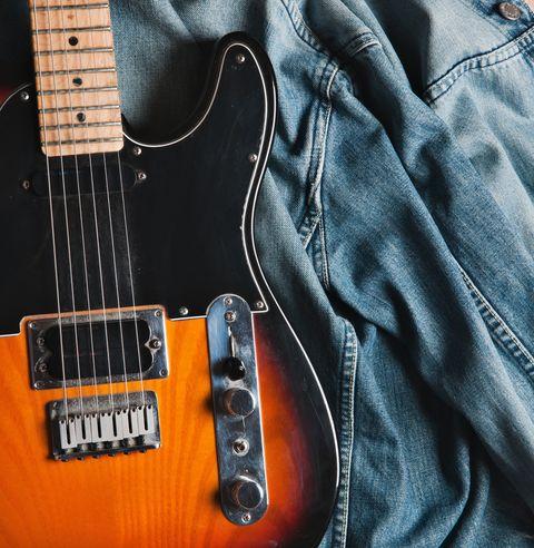 Fender Stratocaster Guitar on Zara Jeans jacket