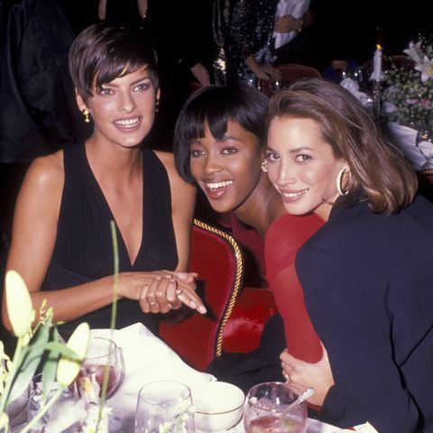 new york city   october 29  l r linda evangelista, naomi campbell and christy turlington attend night of 100 stars gala on october 29, 1989 at the plaza hotel in new york city photo by ron galella, ltdron galella collection via getty images