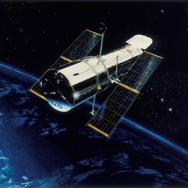 hubble space telescope in orbit, 1980s artist's impression of the hubble telescope in orbit over the earth the hubble space telescope hst, was designed to see seven times further into space than had been possible before, without the distortion caused by the earth's atmosphere hst is a reflecting telescope and its main mirror has a diameter of 2 12 meters work began in 1977 and hst was finally launched by space shuttle discovery on 24 april 1990 problems with its giant mirror meant that it did not initially work as well as expected corrective optics were installed in 1993, greatly improving the telescope's performance, enabling it to view the universe in unprecedented detail photo by oxford science archiveprint collectorgetty images