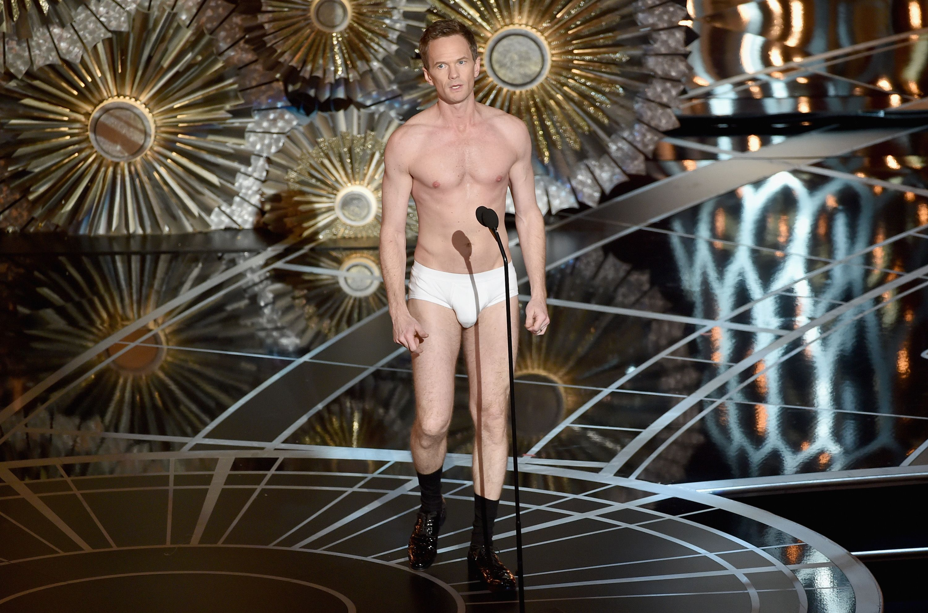 2015: ...And when he stripped down into his underwear. Harris fully committed to putting on an entertaining show, so much so that he stripped down into nothing but his underwear , socks, and shoes on stage.