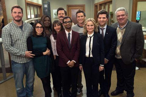 parks and recreation    one last ride episode 712713    pictured l r chris pratt as andy dwyer, aubrey plaza as april ludgate, retta as donna meagle, rashida jones as ann perkins, nick offerman as ron swanson, aziz ansari as tom haverford, rob lowe as chris traeger, amy poehler as leslie knope, adam scott as ben wyatt, jim oheir as garry gergich    photo by colleen hayesnbcu photo banknbcuniversal via getty images via getty images