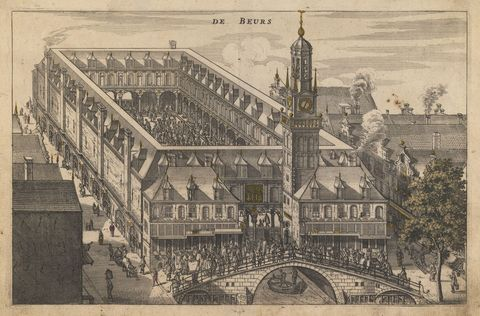 the amsterdam stock exchange, early 17th cen from a private collection photo by fine art imagesheritage imagesgetty images