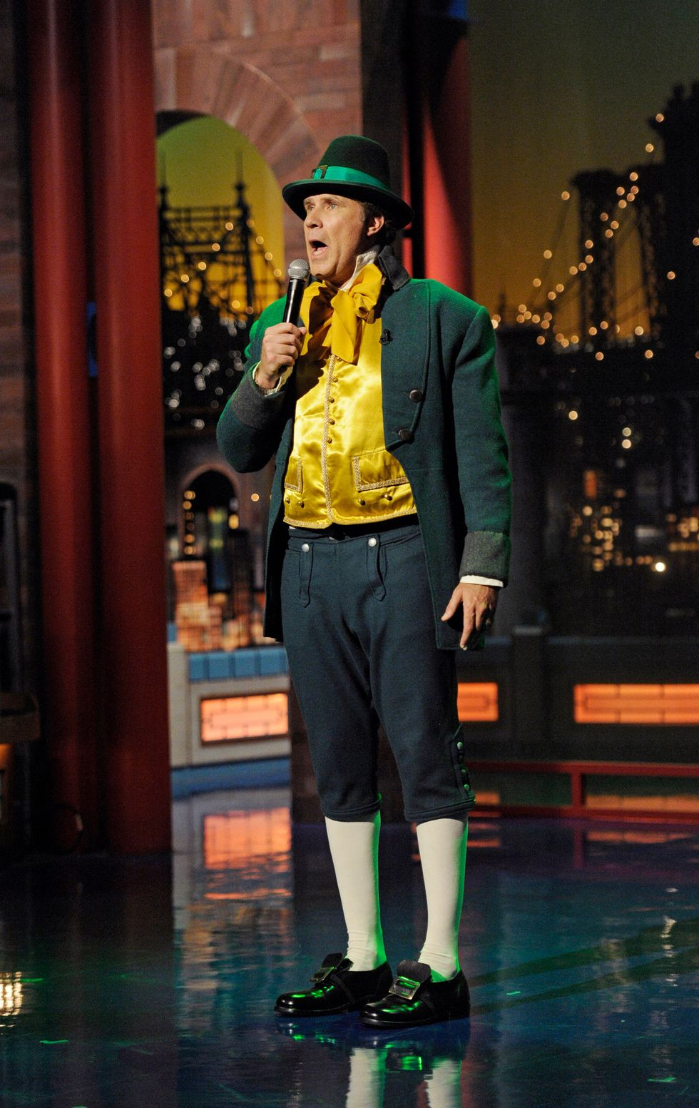 Will Ferrell sings a song while dressed as a leprechaun in honor of St. Patrick's day, on the Late Show with David Letterman , on March 17,  2015.
