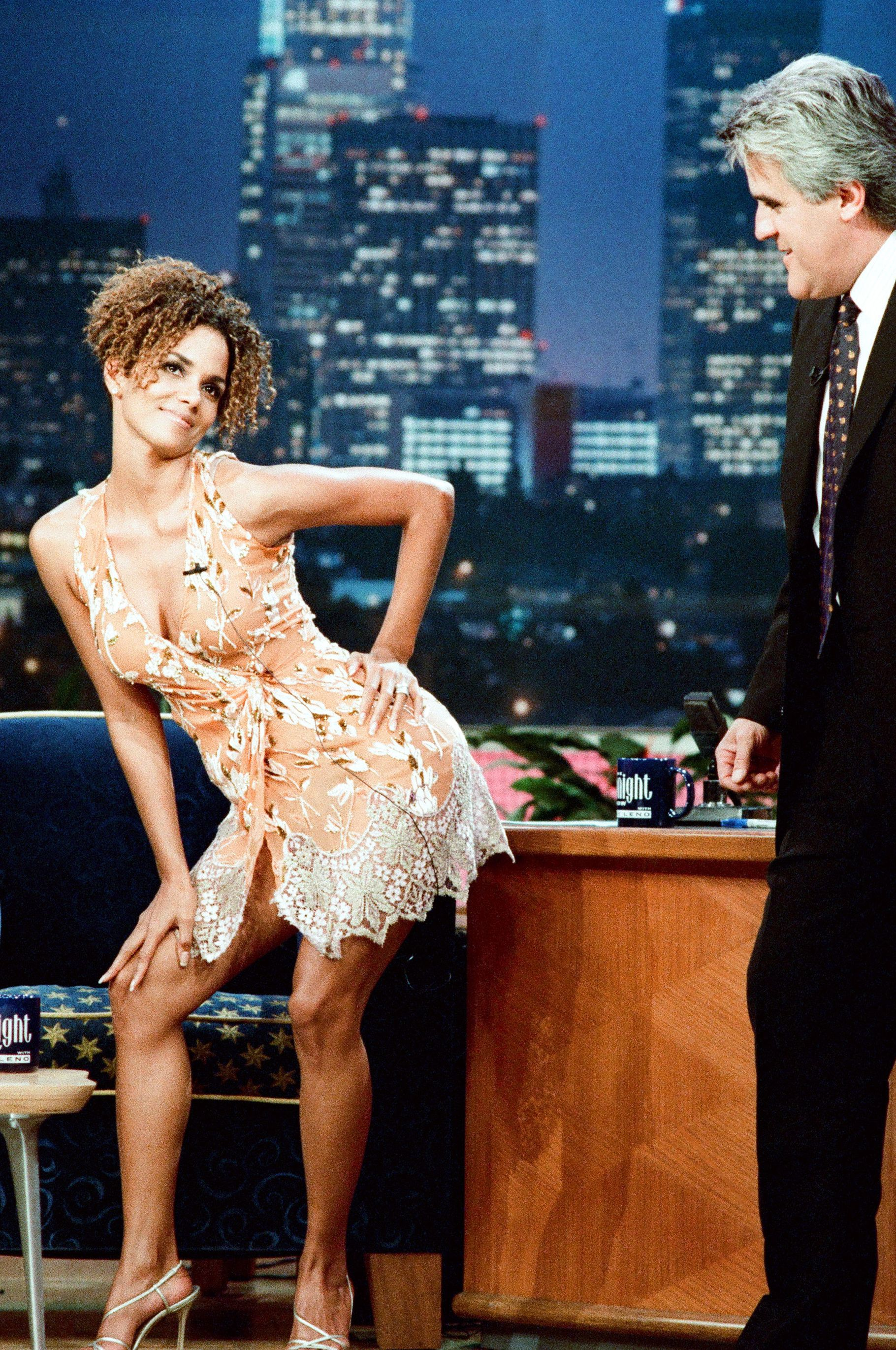 Late Night Fun With Leno Interviews with late night TV hosts have always given celebs a chance to be charming and fun. That is what Halle embodies in this 1991 appearance on the Tonight Show With Jay Leno .