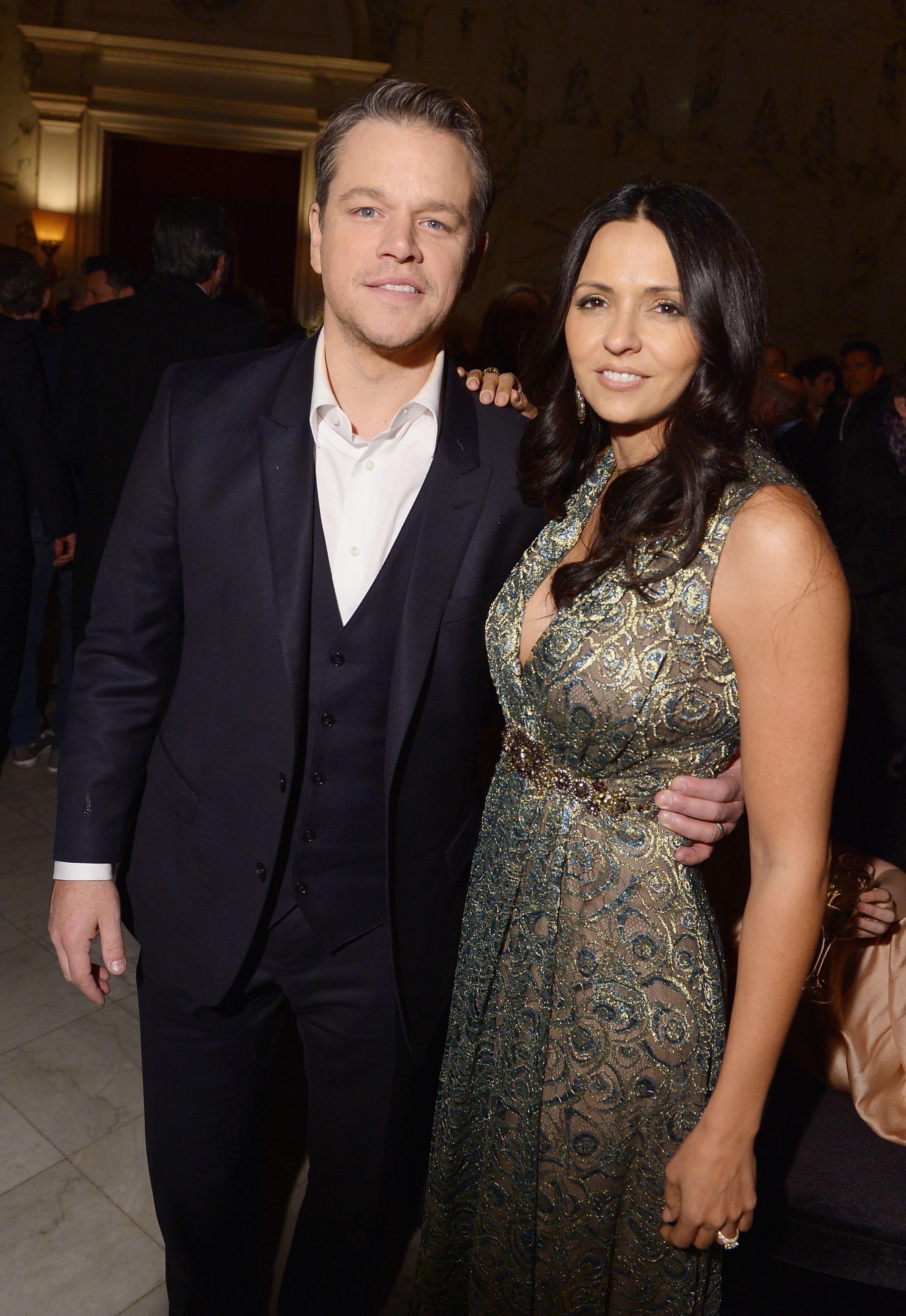 Matt Damon met Luciana Barroso while she was bartending.