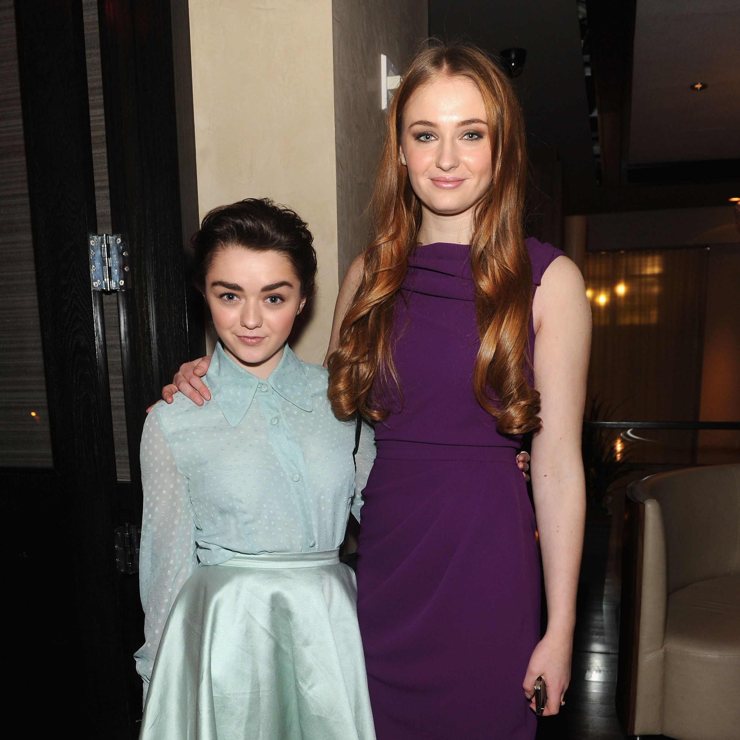 """February 8, 2014 You can tell the girls are starting to come into their own, fashion-wise, and they're giving """"good face"""" to the cameras. This was a non- GoT event: the Mercedes-Benz Fashion Week Fall 2014 Christian Siriano private dinner and after party."""