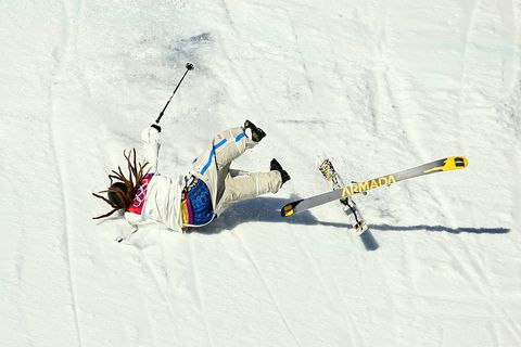 sochi, russia   february 13  henrik harlaut of sweden falls while competing in the freestyle skiing mens ski slopestyle qualification during day six of the sochi 2014 winter olympics at rosa khutor extreme park on february 13, 2014 in sochi, russia  photo by al bellogetty images