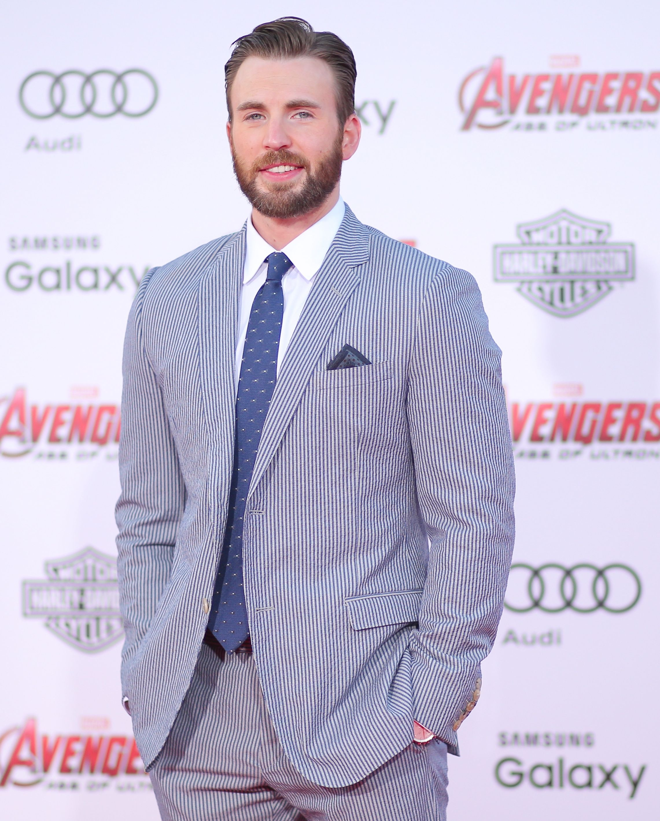 Chris Evans at the premiere of Avengers: Age of Ultron