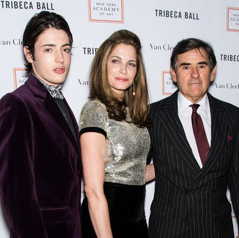 new york, ny   april 13  harry brant, model stephanie seymour and industrialistbusinessman peter m brant attend the 2015 tribeca ball at new york academy of art on april 13, 2015 in new york city  photo by gilbert carrasquillofilmmagic
