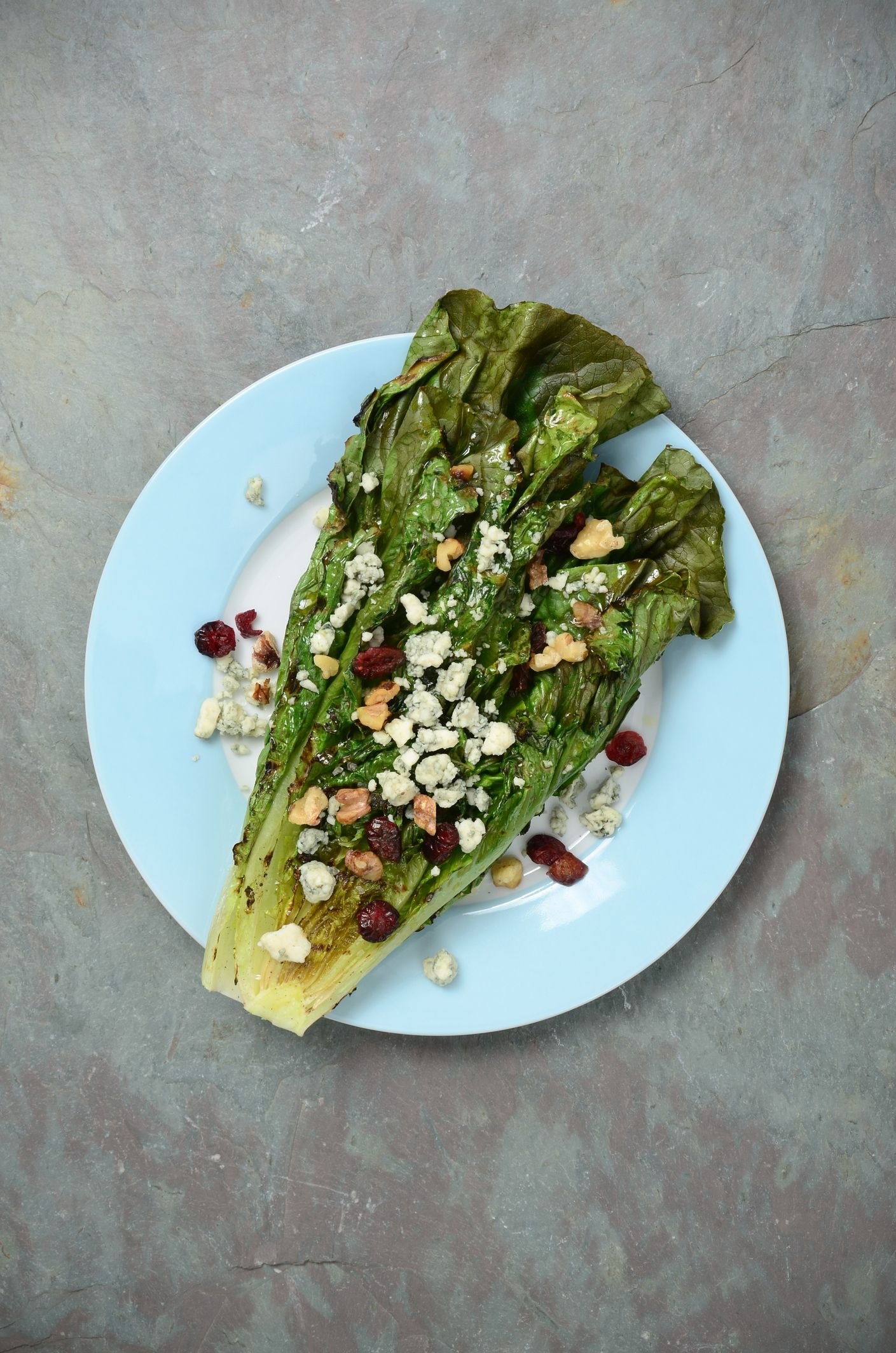 Grilled Romaine Salad with Blue Cheese and Walnuts