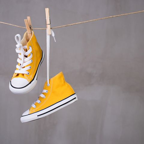 Trainers hanging on the clothesline