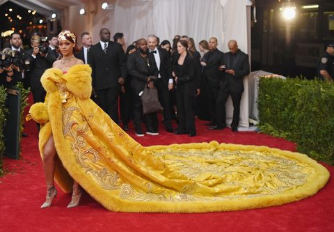 new york, ny   may 04  rihanna attends the china through the looking glass costume institute benefit gala at the  metropolitan museum of art on may 4, 2015 in new york city  photo by mike coppolagetty images