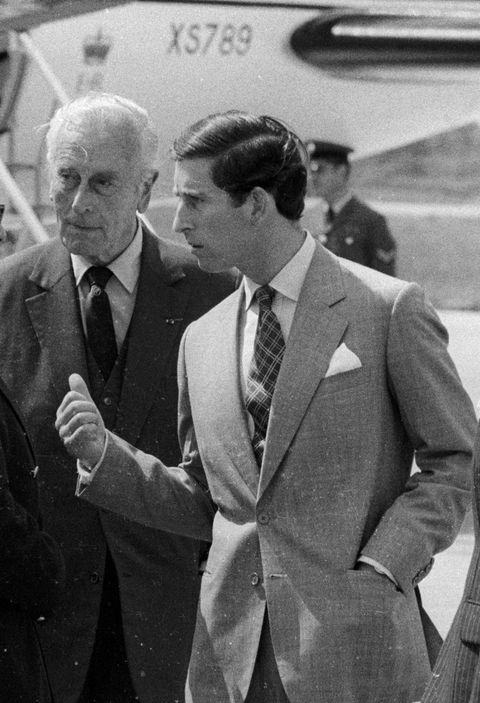 reims, france, prince charles avec lord mountbatten, son grand oncle, prince charles arrives with his great uncle lord mountbatten in reims, france   photo by francis apesteguygetty images
