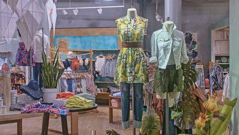 Building, Plant, Floristry, Textile, Interior design, Visual arts, Display window, Floral design, Retail, Art,