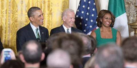 Barack Obama with Michelle Obama and Joe Biden