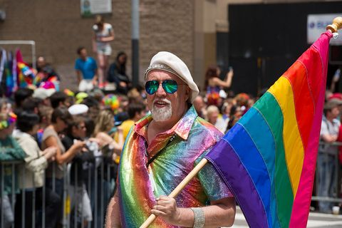 san francisco, ca   june 28  pride rainbow flag creator gilbert baker marches during the 2015 san francisco pride parade on june 28, 2015 in san francisco, california  photo by arun nevaderwireimage