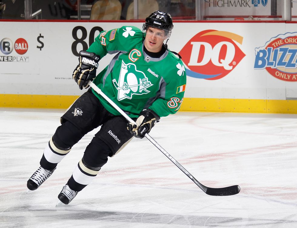 Sidney Crosby of the Pittsburgh Penguins warms up while wearing a St. Patricks Day jersey prior to the game against the Philadelphia Flyers on March 16, 2014.