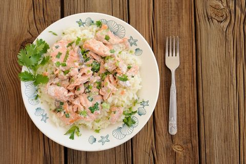 Koolhydraten stapelen - recept risotto met zalm