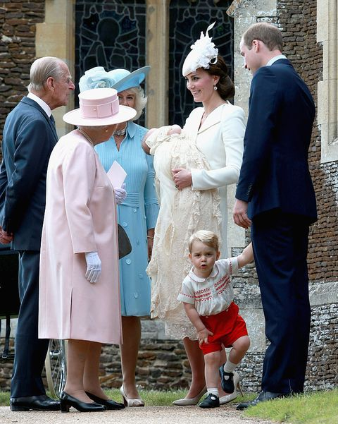 kings lynn, england   july 05  catherine, duchess of cambridge, prince william, duke of cambridge, princess charlotte of cambridge and prince george of cambridge talk to queen elizabeth ii, prince phillip, duke of cambridge and camilla, duchess of cornwall at the church of st mary magdalene on the sandringham estate after the christening of princess charlotte of cambridge on july 5, 2015 in kings lynn, england  photo by chris jackson   wpa poolgetty images