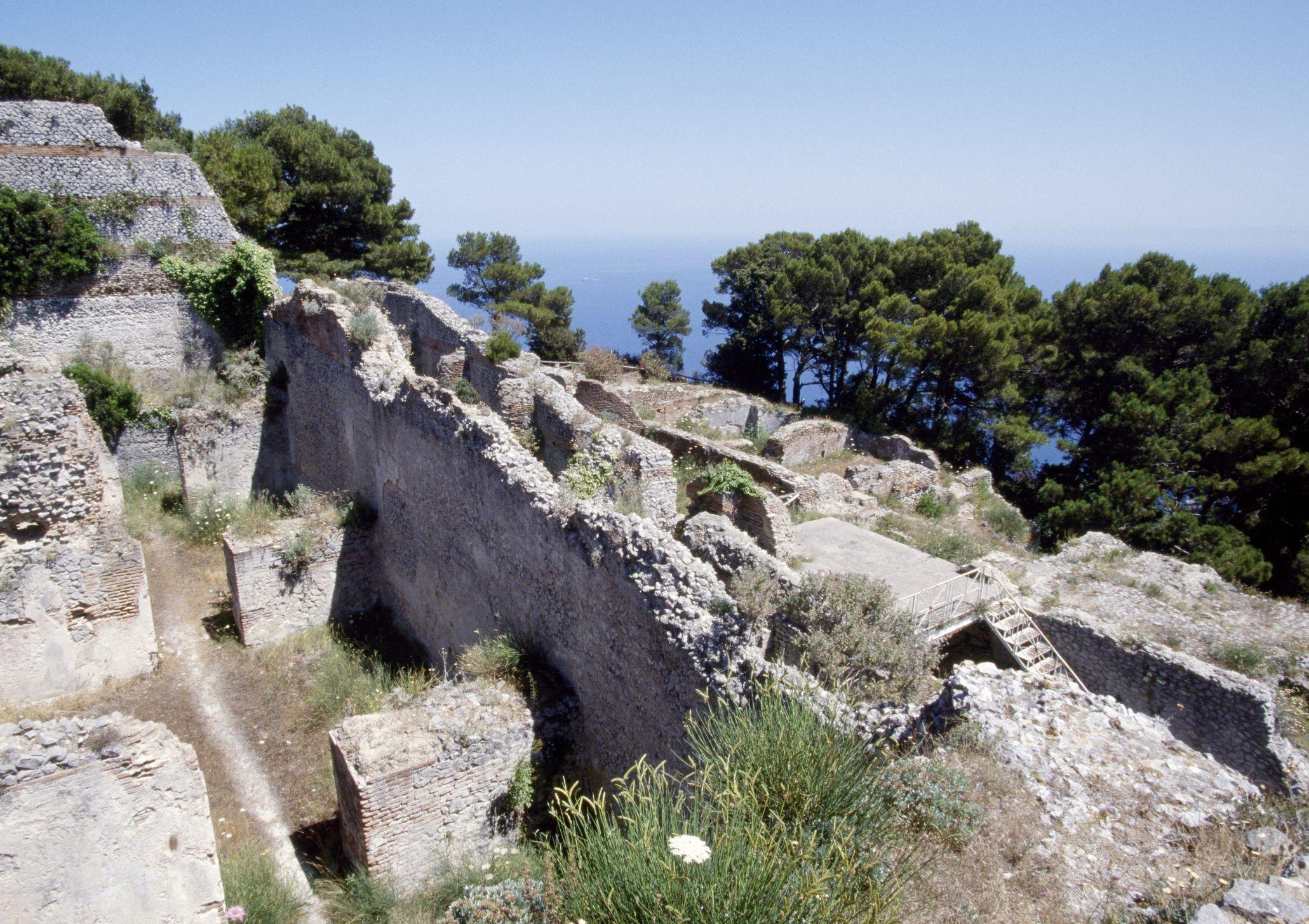 View of ruins of Villa Jovis, Capri, Campania, Italy. Roman civilization, 1st century