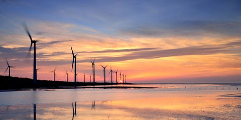 Sky, Wind turbine, Windmill, Wind farm, Reflection, Cloud, Water, Sunset, Afterglow, Evening,