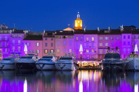 St Tropez illuminated at Christmas Time