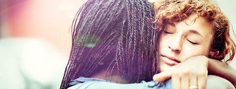 Hair, Shoulder, Hairstyle, Beauty, Forehead, Lip, Hug, Love, Friendship, Eye,