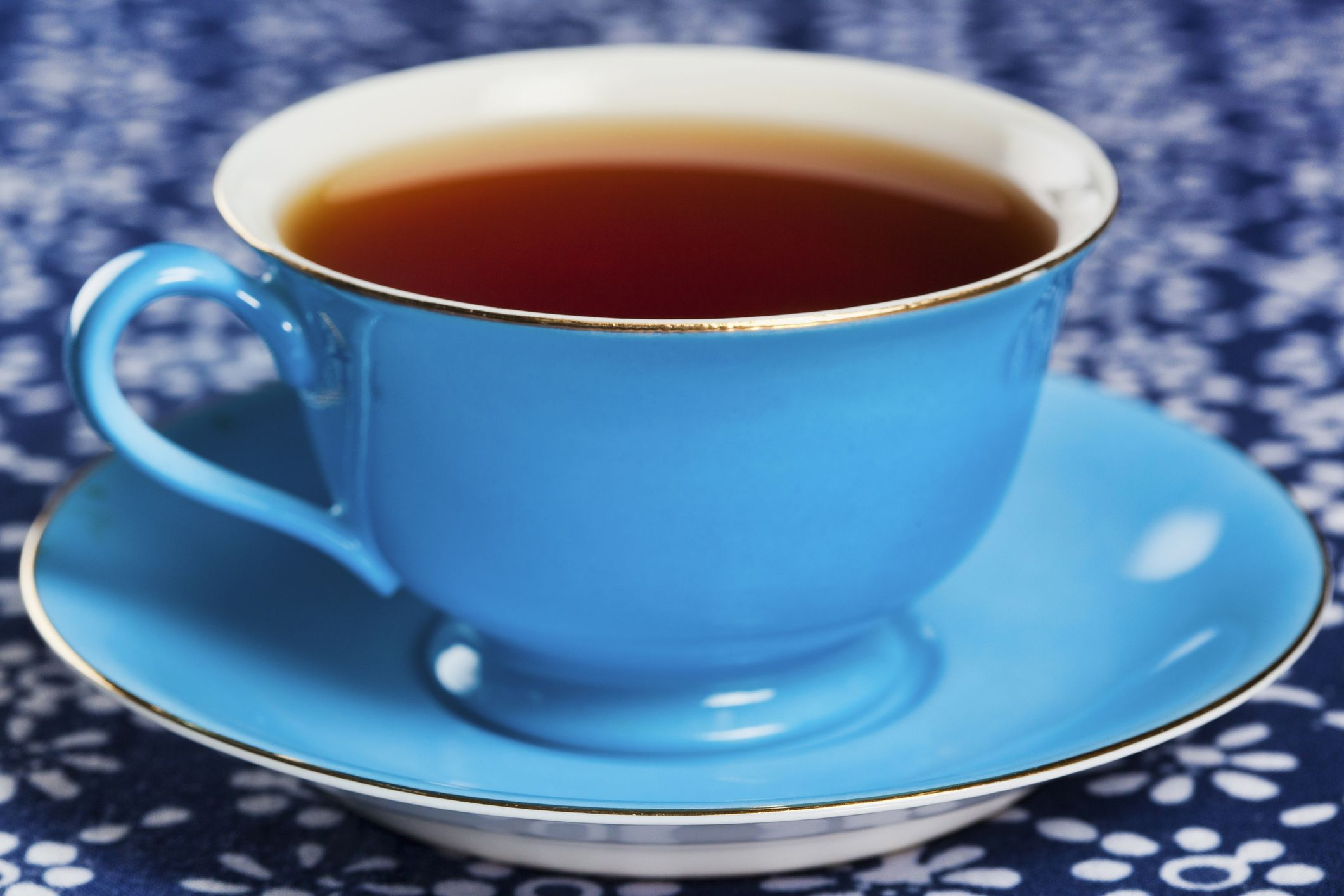 Close up of tea in blue china tea cup