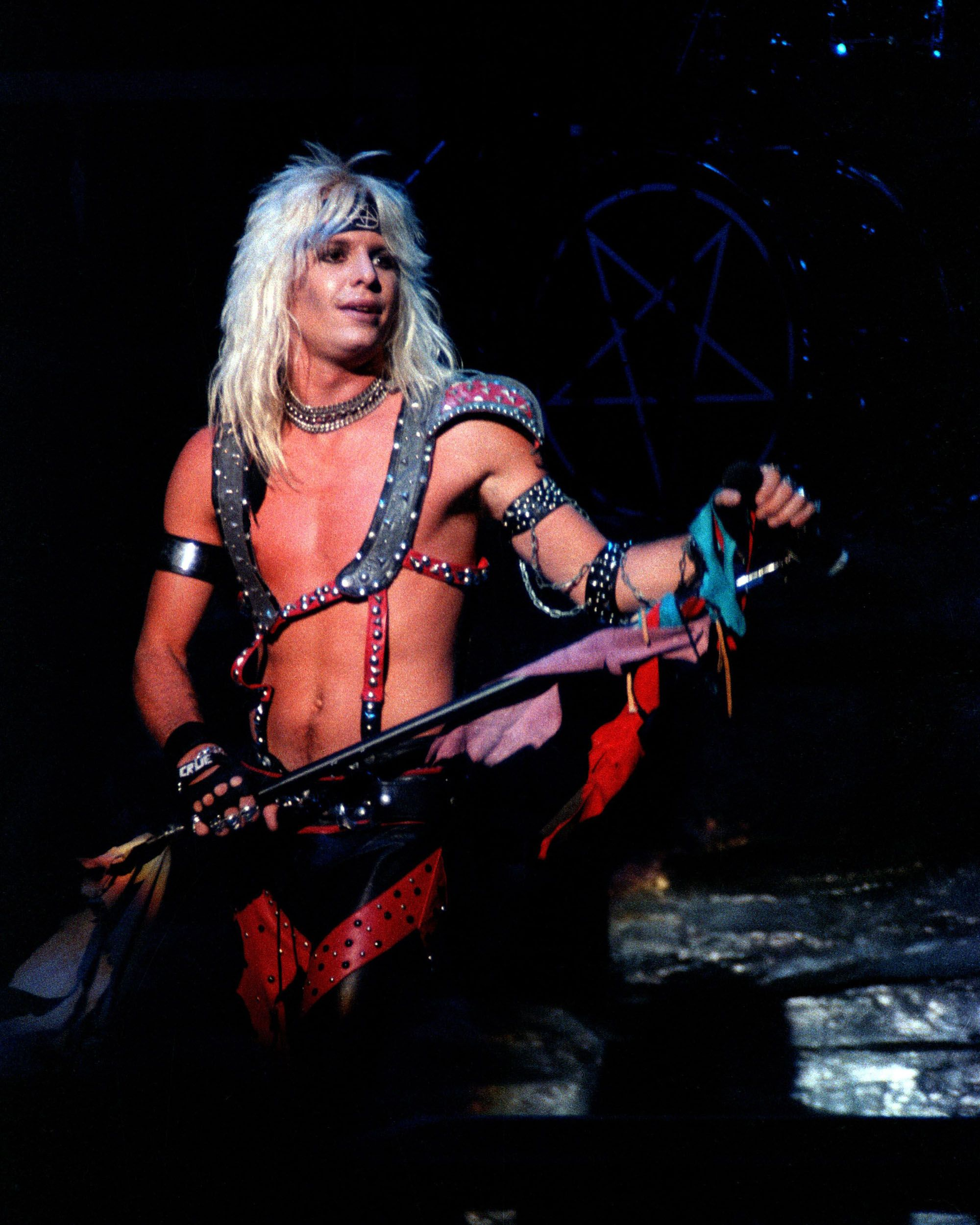 Vince Neil performing with Mötley Crüe at Warfield Theater in San Francisco, California on April 24, 1981.