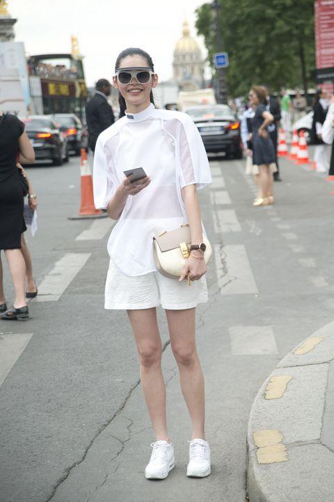 White, Photograph, Street fashion, Fashion, Clothing, Snapshot, Eyewear, Beauty, Street, Footwear,